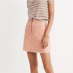 Madewell pink frayed denim zip up skirt